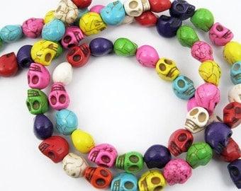 30pcs 12MM mixed color skull stone beads,skull loose beads,skull beads strand 3000001
