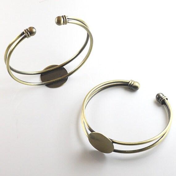 2Pcs 18MM vintage brass round base tray bracelet,DIY bracelet,bronze bracelet 1900006