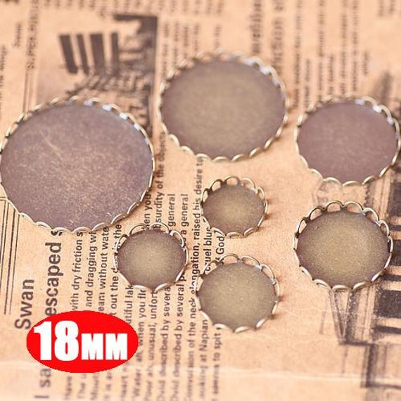 20Pcs 18MM vintage round pendant setting,vintage bronze pendant base setting1411011-3
