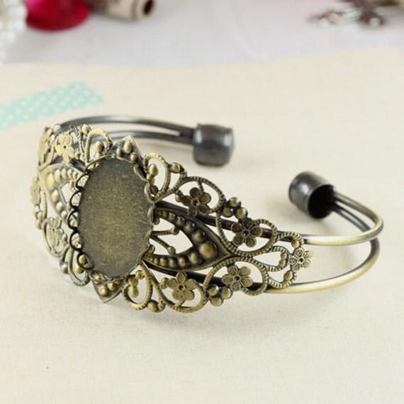 2pcs 18x25mm vintage brass oval base tray bracelet