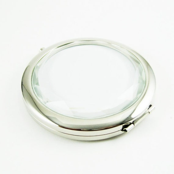 1set 58mm setting size metal vintage silver round blank compact double side pocket mirror bezels tray with cabochon 1991006
