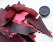 1 Lb bag of quality leather scraps, Pinks and Reds