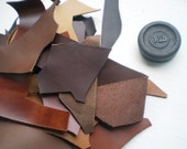 1 Lb bag of quality leather scraps, Browns mixed