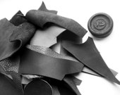 1 Lb bag of quality leather scraps, Black and Grey mixed