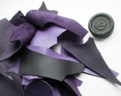 1 Lb bag of quality leather scraps, Purple mixed