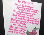 MOTHER'S DAY CARD -- hand-lettered message with hand-painted dark pink flowers - one of kind