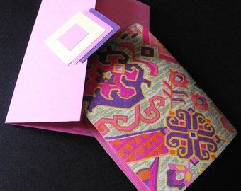 INTIMATE NOTES - made with handmade paper, pink geometric floral