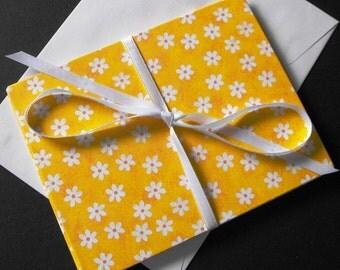 SOUVENIR KEEPSAKE - handmade gift card with white flowers on yellow