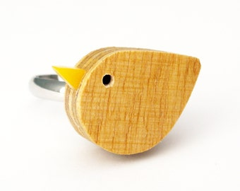 Bird Ring - Handmade wooden bird ring by I Am Acrylic