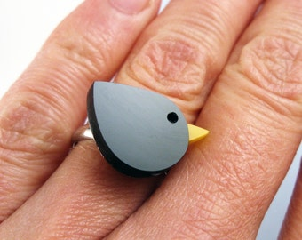 Blackbird ring - hand made plastic ring by I Am Acrylic