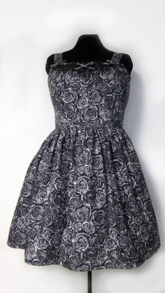 Lolita Dress- The Black Rose - Lace-up back Size XL