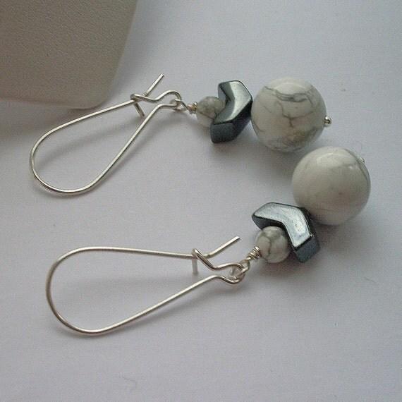 Fresh Funky White Howlite and Hematite (Haematite) Stone Earrings