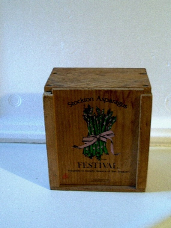Vintage Wooden 1960s Stockton Asparagus Festival Box