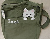 Embroidered Canvas Messenger Bag with large outside pocket  zippered top closure