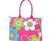Personalized Canvas Beach Duffle Bag with Zippered closure on top in fun colors