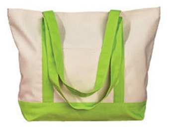 Monogrammed Canvas Boat Tote or Beach bag 12 oz. with contrasting handles