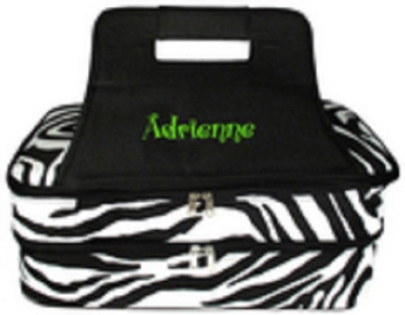 Embroidered Double Insulated Casserole Tote Zebra with Black handle