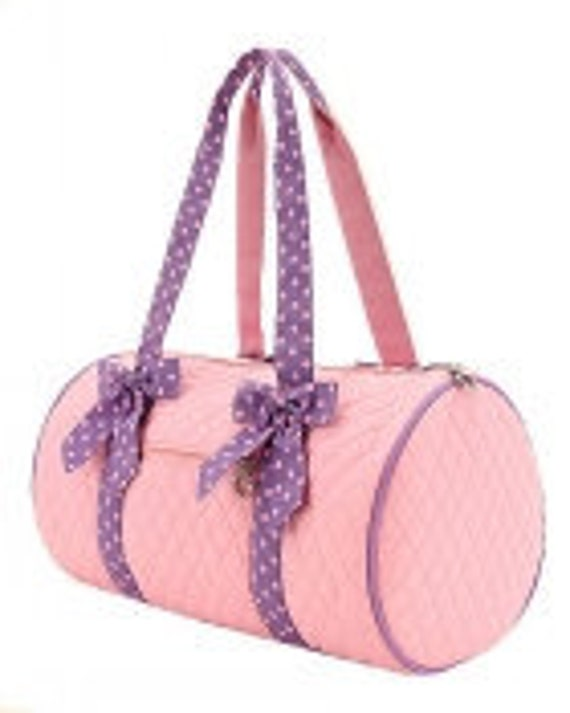 "Medium 18"" Embroidered Personalized pink and lavender Duffel Bag with removable bows"