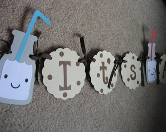 Cookies and Milk Baby Boy Shower Banner