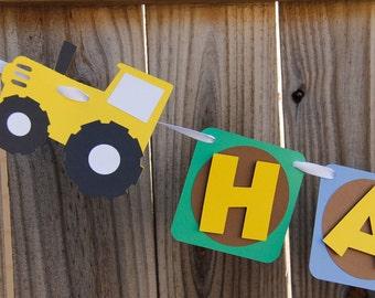 Boy Tractor Birthday Banner