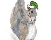 Watercolor squirrel nursery art