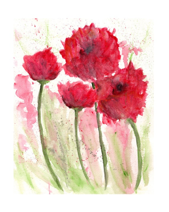 Watercolor flowers watercolor poppies flower painting