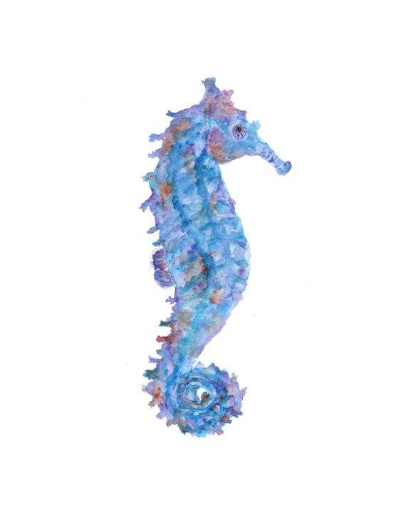 Watercolor art, seahorse print, seahorse, beach print, watercolor seahorse, watercolor fish, beach painting, seahorse art- 8X10