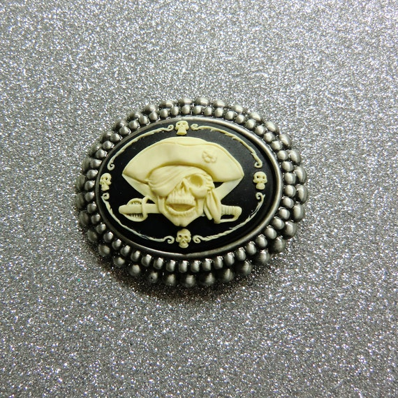 Cool Ivory on Black Pirate Brooch