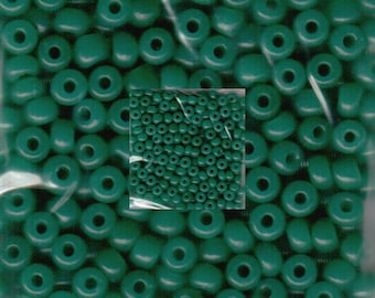 Czech Seed Beads 6/0  Opaque Oily Green Spacer Beads 12 grams approx 180