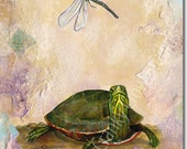Painted Turtle and Dragonfly
