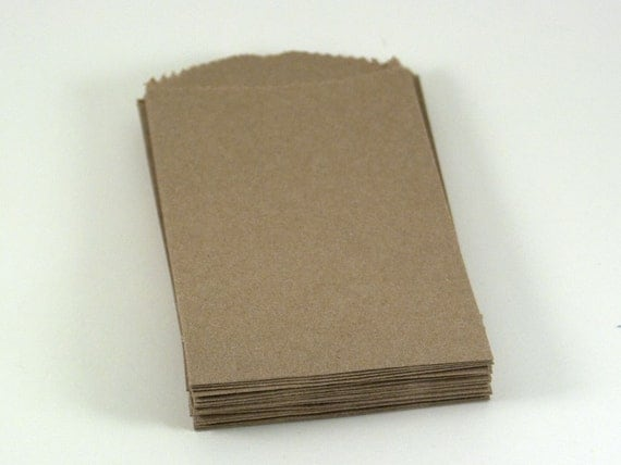 24 Mini Kraft Plain Bags 2.75 x 4 inches