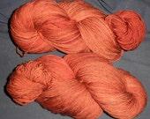 """Hand Dyed 100% Merino Superwash Sock Yarn , """"Copper"""" Colourway"""
