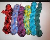 Hand painted natural wool mini skeins, set of 6