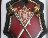 Vintage Pirate Sabre Leather Shield Wall Plaque ON SALE