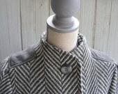 SALE COAT- Gray on Grey Chevron Winter Wool Coat Sz S to Med