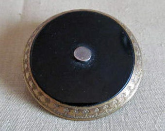 C. 1890's Gold and French Jet Mourning Brooch