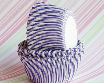 Cupcake Liners Baking Cups (50) Purple Swirl Stripes
