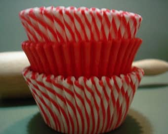 Cupcake Liners, Baking Cups,  Holiday Baking Cups 60 Red and  Candy Stripe