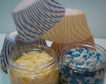 Little Boy Blue  Cupcake Kit - Sprinkles, Sugar and Cupcake Liners -Yellow and Blue