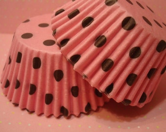 Cupcake Liners - Baking Cups - pink with Brown Polka Dot (50)