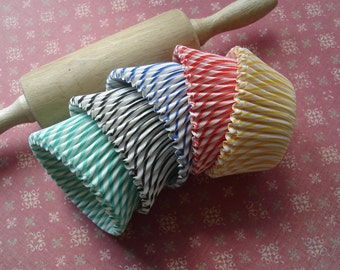 Rainbow Stripe Mini  Cupcake Liners Baking Cups 5 stripes (100 paper liners)