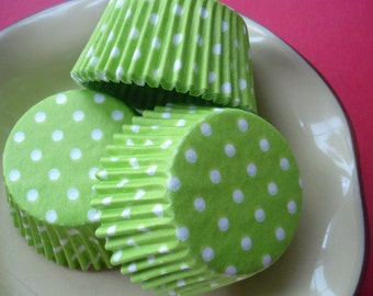 Cupcake Liners   Lime Green Polka dot baking Cups (50)
