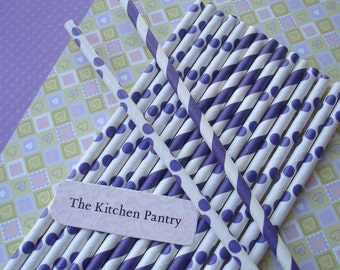 Paper Straws   - Purple Passion Dots and  Stripes (30) - Includes Recipe and Directions for Milkshake Cupcakes