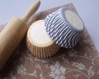 Cupcake Liners   Baking Cups (50)  Cobalt Blue and Yellow  Candy Stripe