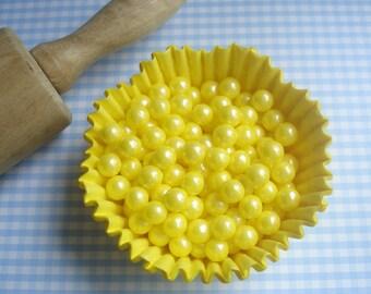 Yellow  Sugar Pearls Candy Bead Sprinkles - Large  pearls (2 oz )  Cupcakes or Cookies