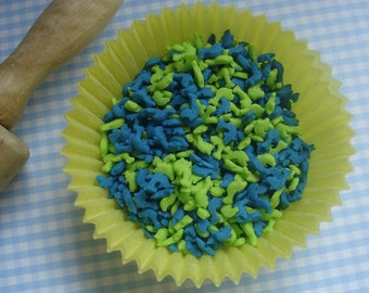 Blue and Green Dolphin Shapes  Sprinkles (2ounces)