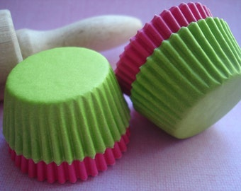 Paper Baking Cups Mini  Cupcake liners Pink liners lime green liners bulk 140