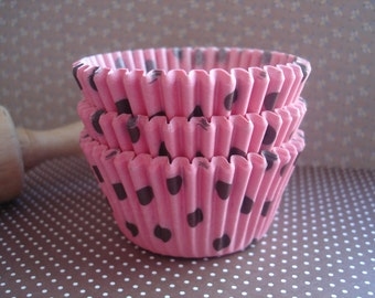 Pink with Brown Polka Dot Cupcake Liners Baking Cups (50 )