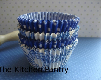 """Mini Cupcake Liners Blue  Baking Cups (120) """" Blue Skies """" Plaid and Dots"""
