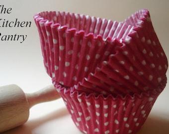 Jumbo Large Pink and White Polka Dot Cupcake Liners Large Pink  Baking Cups (25)